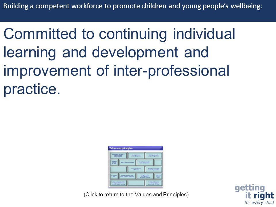Building a competent workforce to promote children and young people's wellbeing: