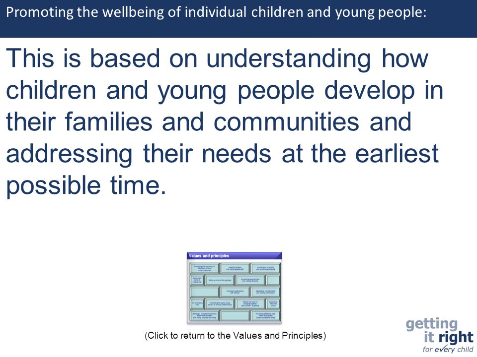 Promoting the wellbeing of individual children and young people: