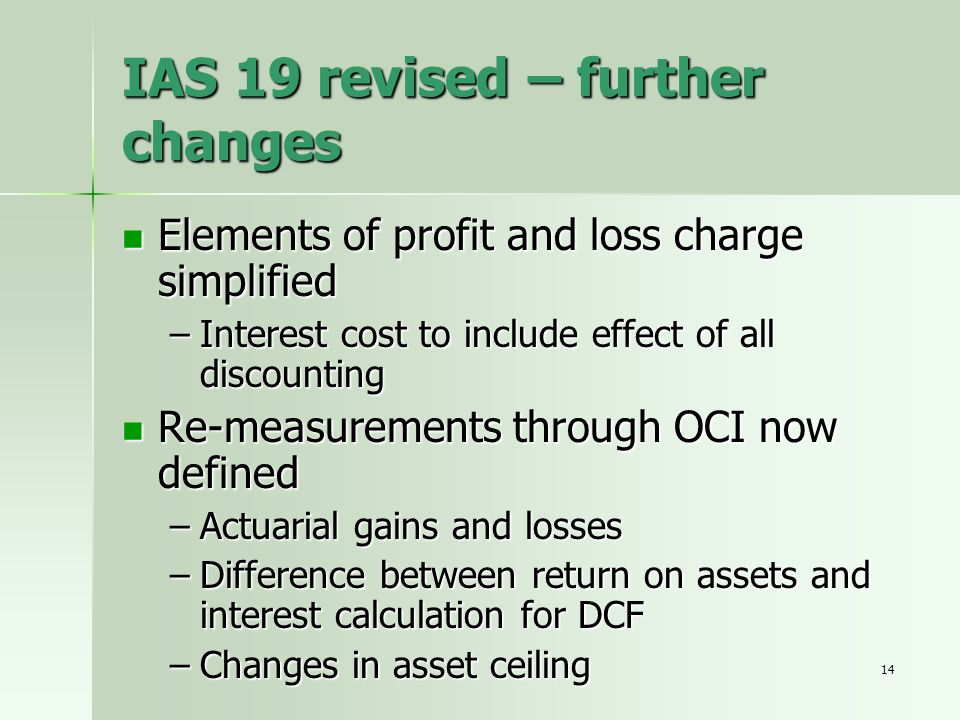 IAS 19 revised – further changes