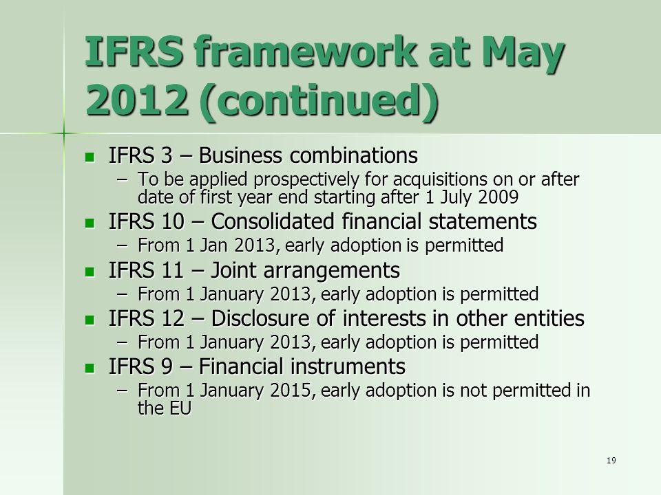 IFRS framework at May 2012 (continued)