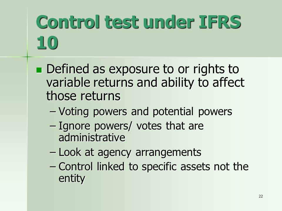 Control test under IFRS 10