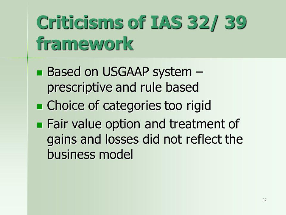 Criticisms of IAS 32/ 39 framework