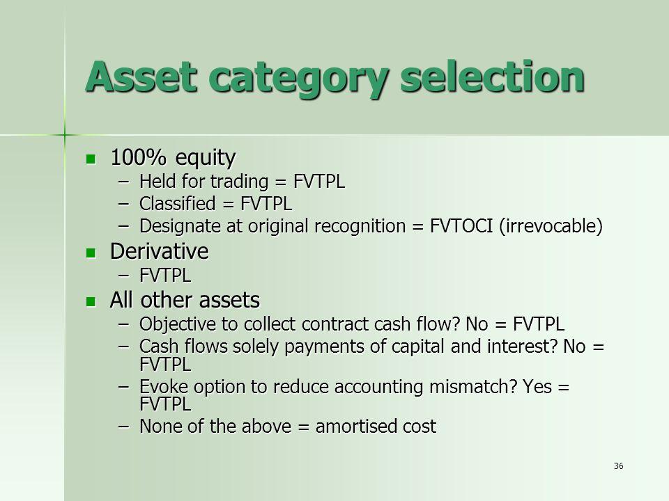 Asset category selection