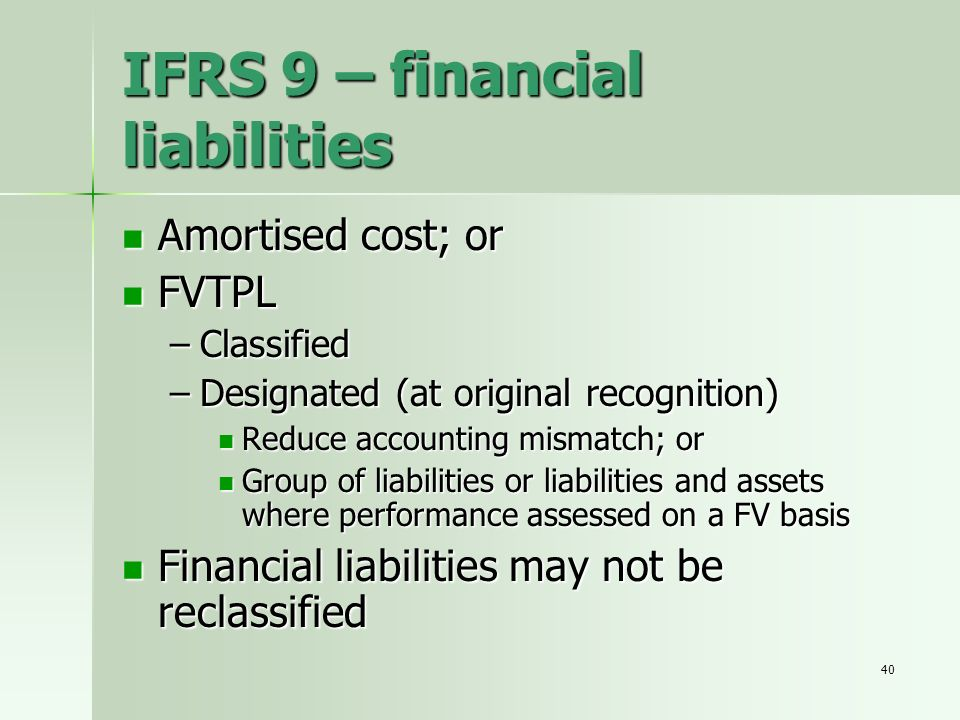 IFRS 9 – financial liabilities