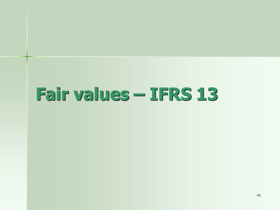 Fair values – IFRS 13