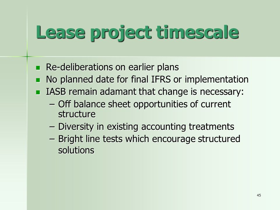 Lease project timescale