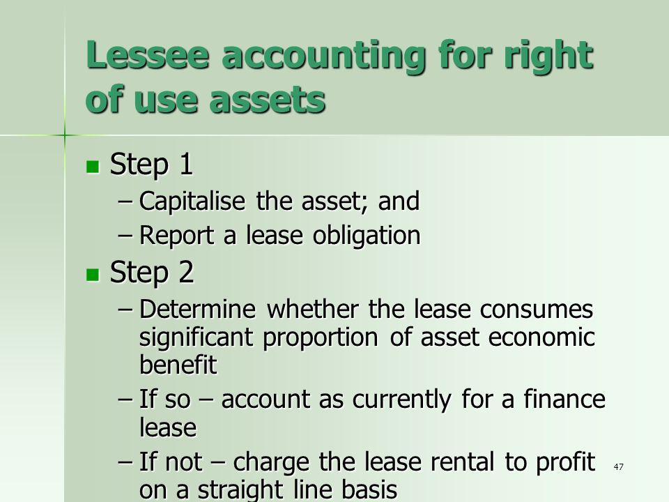 Lessee accounting for right of use assets