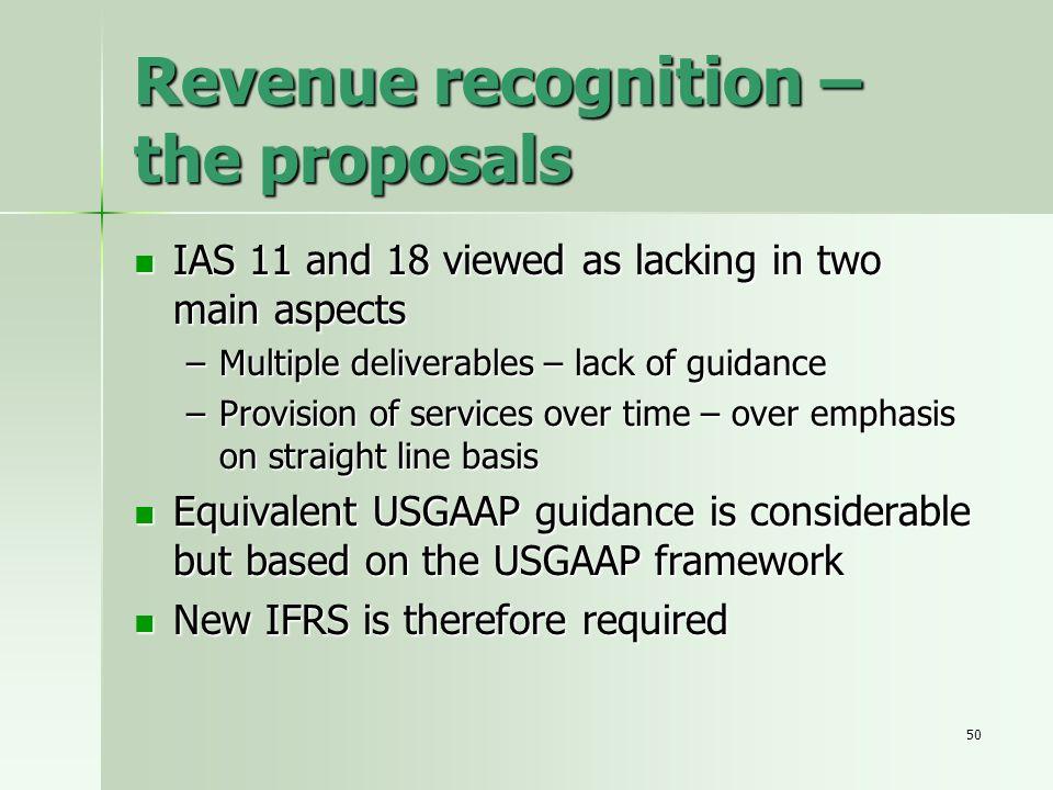Revenue recognition – the proposals