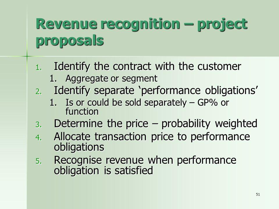 Revenue recognition – project proposals