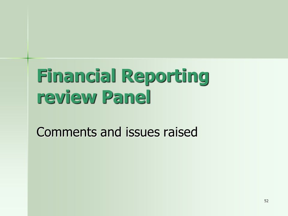 Financial Reporting review Panel
