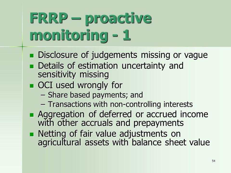 FRRP – proactive monitoring - 1