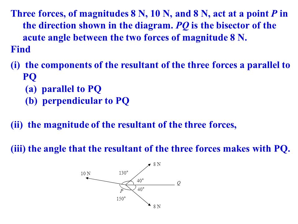 the components of the resultant of the three forces a parallel to PQ