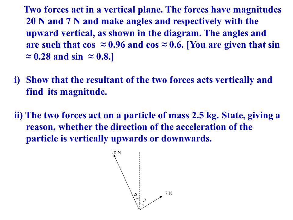 Two forces act in a vertical plane
