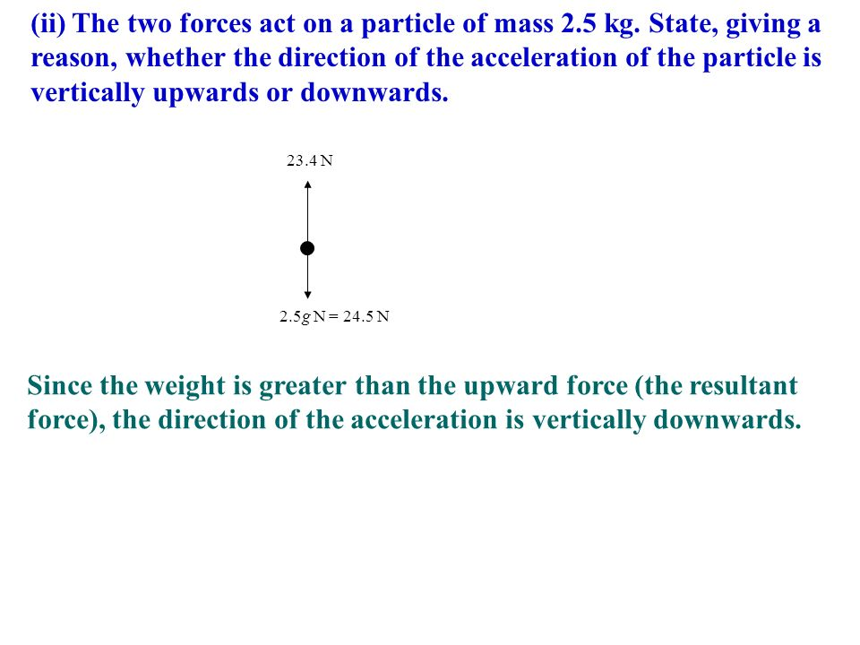 (ii) The two forces act on a particle of mass 2. 5 kg