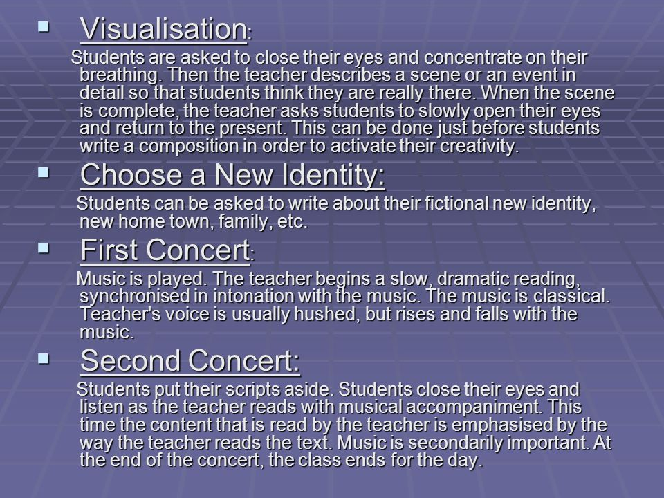 Visualisation: Choose a New Identity: First Concert: Second Concert: