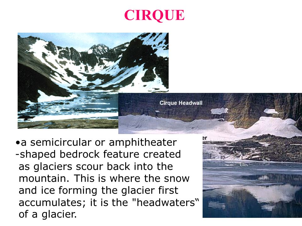 CIRQUE a semicircular or amphitheater -shaped bedrock feature created