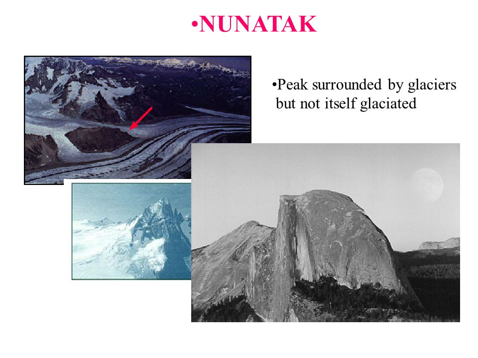 NUNATAK Peak surrounded by glaciers but not itself glaciated