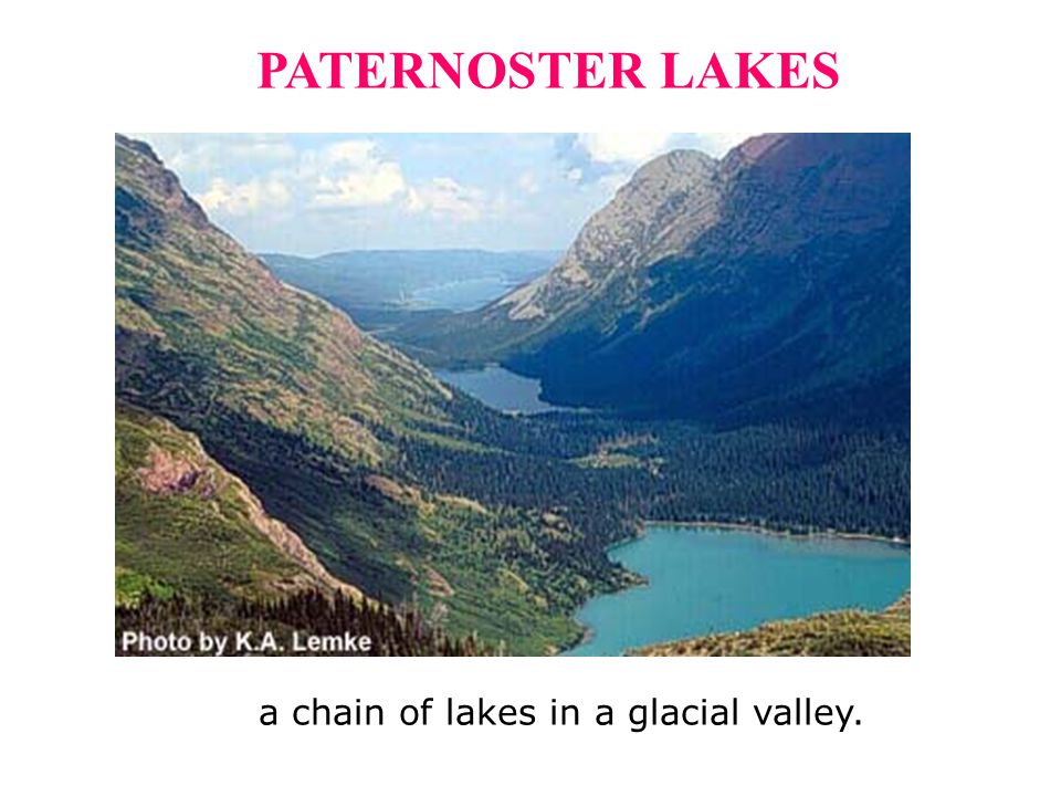 a chain of lakes in a glacial valley.