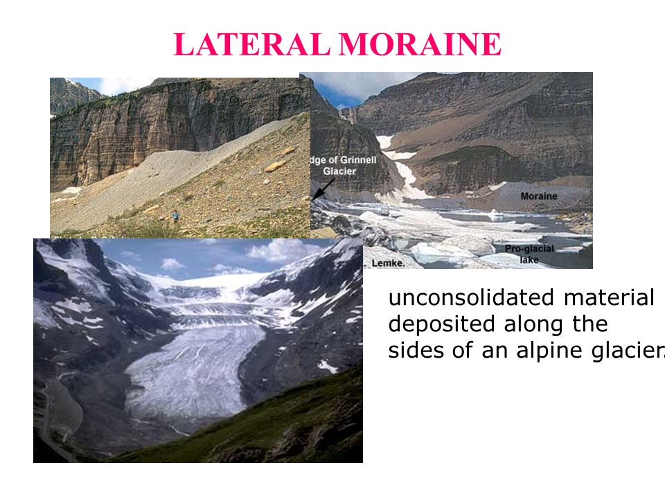 LATERAL MORAINE unconsolidated material deposited along the
