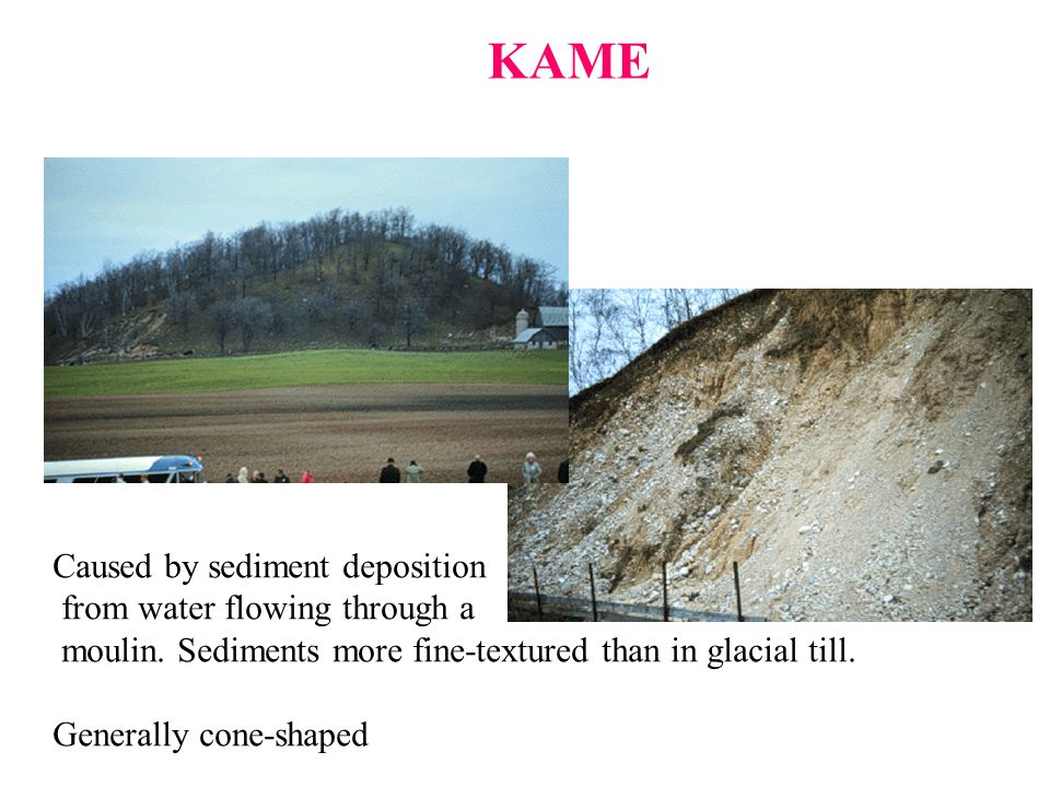 KAME Caused by sediment deposition from water flowing through a