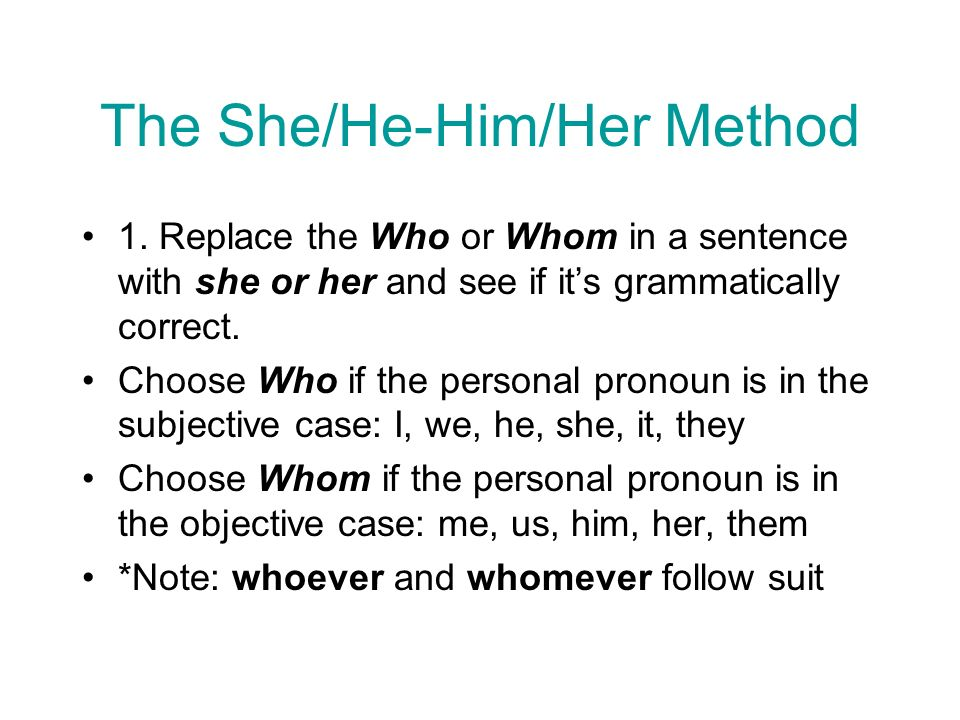 The She/He-Him/Her Method