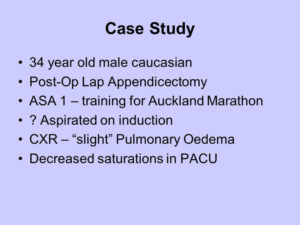 Case Study 34 year old male caucasian Post-Op Lap Appendicectomy