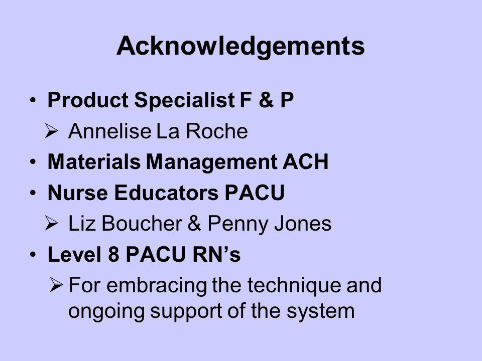 Acknowledgements Product Specialist F & P Annelise La Roche