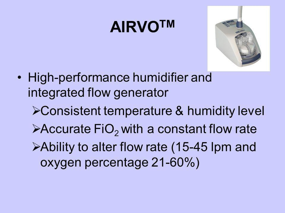 AIRVOTM High-performance humidifier and integrated flow generator