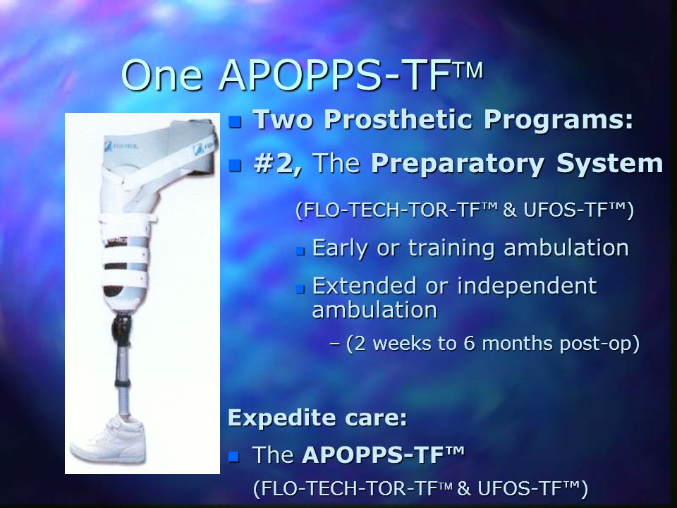 One APOPPS-TF Two Prosthetic Programs: #2, The Preparatory System