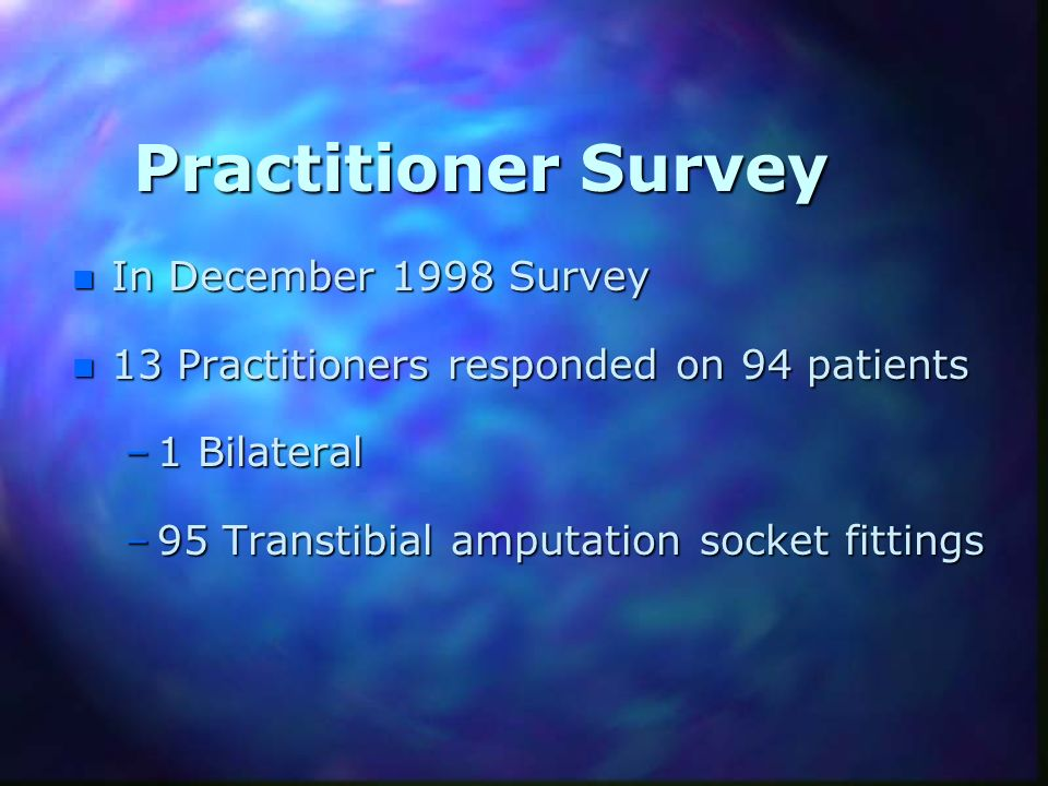 Practitioner Survey In December 1998 Survey