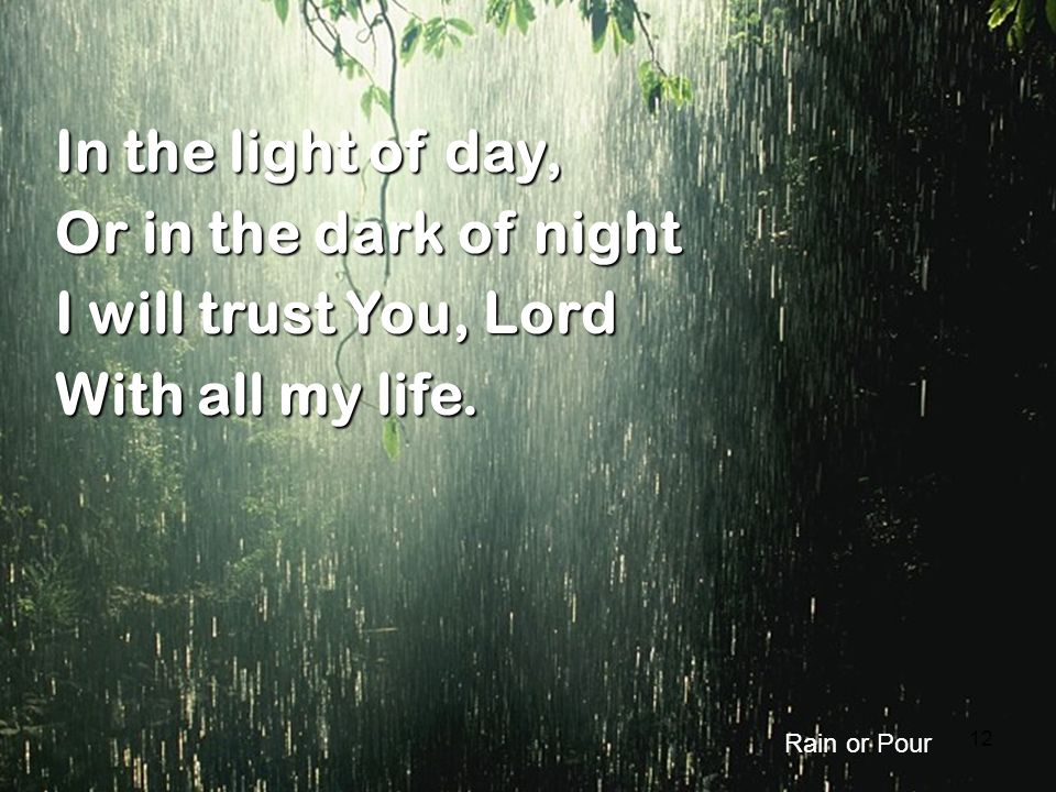 In the light of day, Or in the dark of night I will trust You, Lord