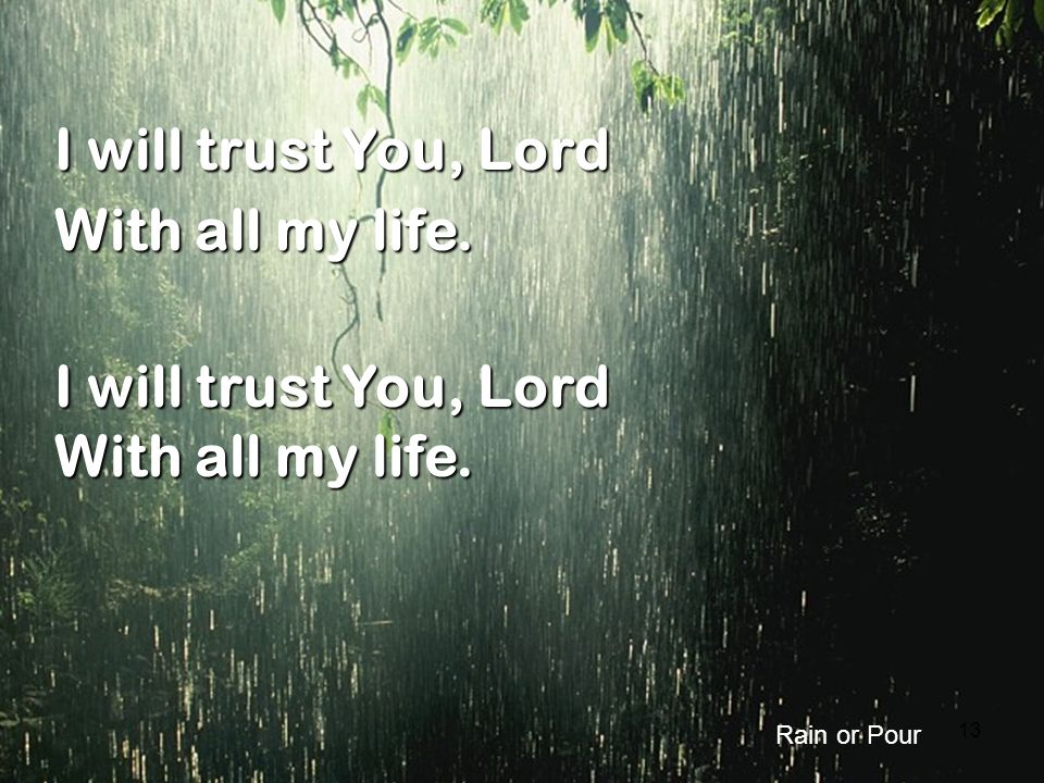 I will trust You, Lord With all my life. Rain or Pour 13 13