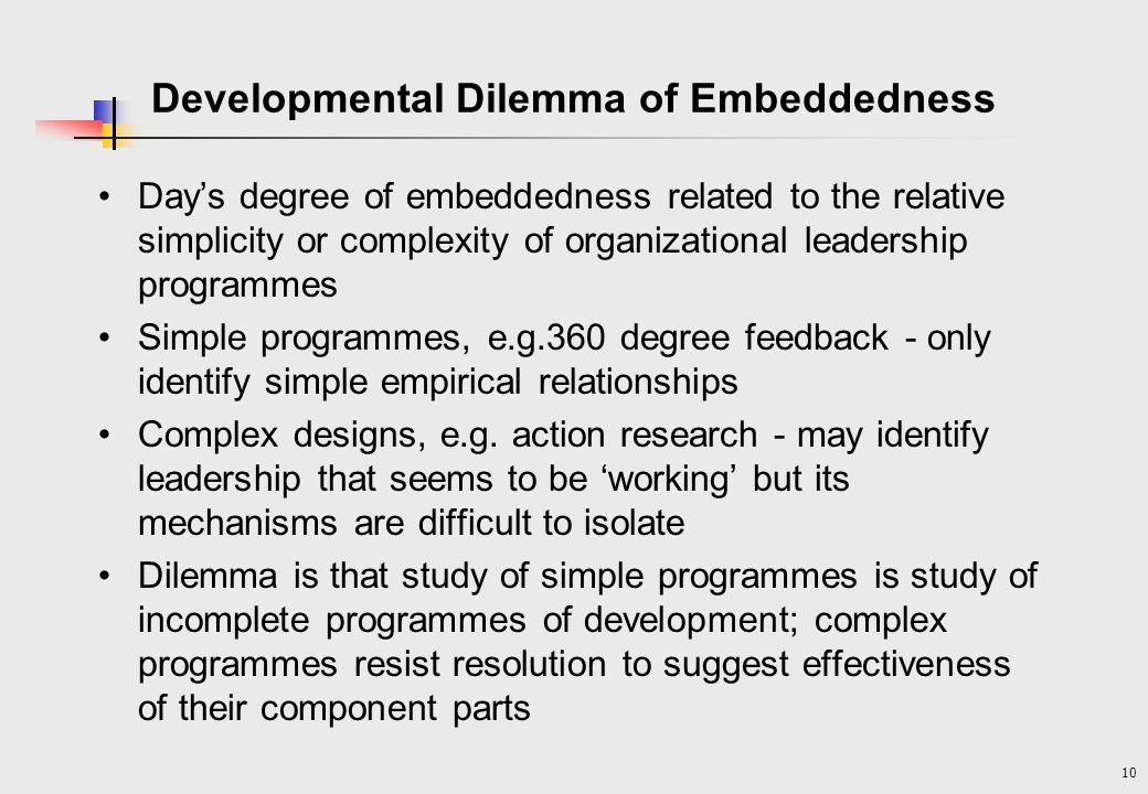 Developmental Dilemma of Embeddedness