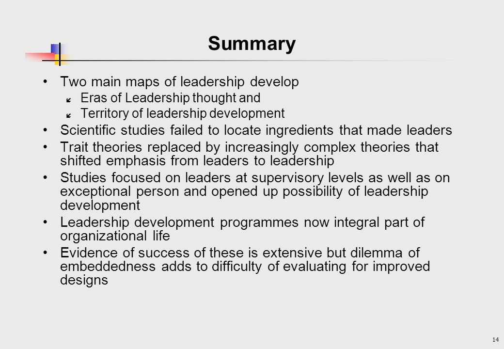 Summary Two main maps of leadership develop