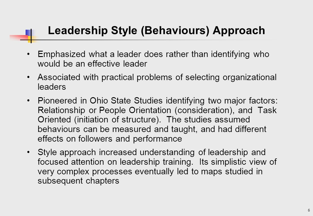Leadership Style (Behaviours) Approach