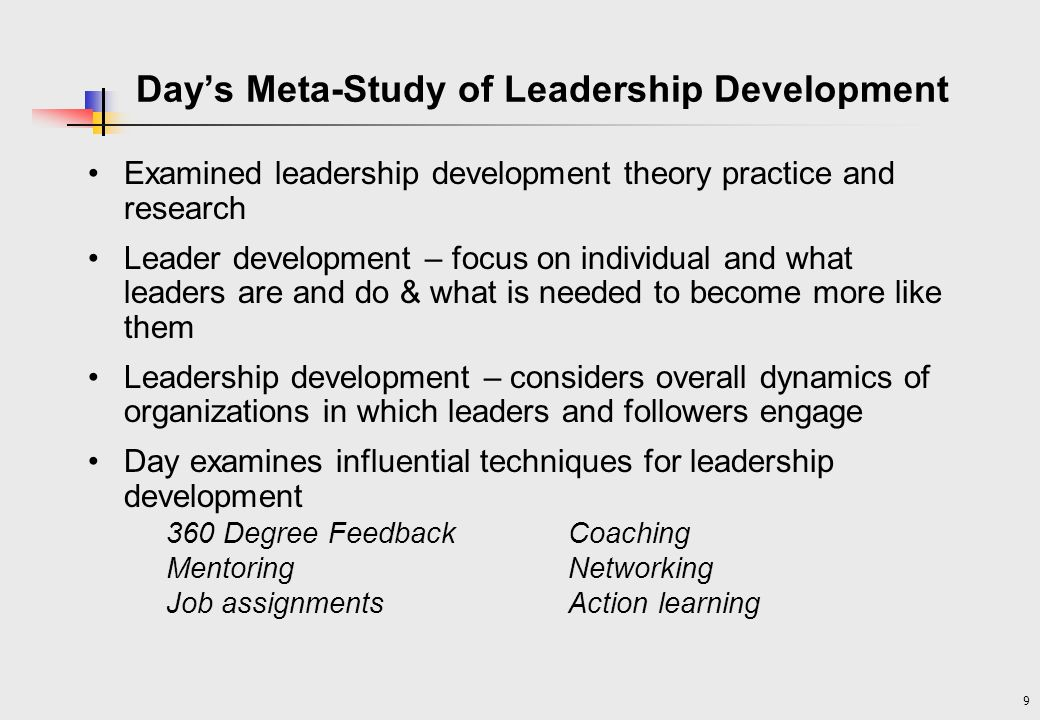 Day's Meta-Study of Leadership Development