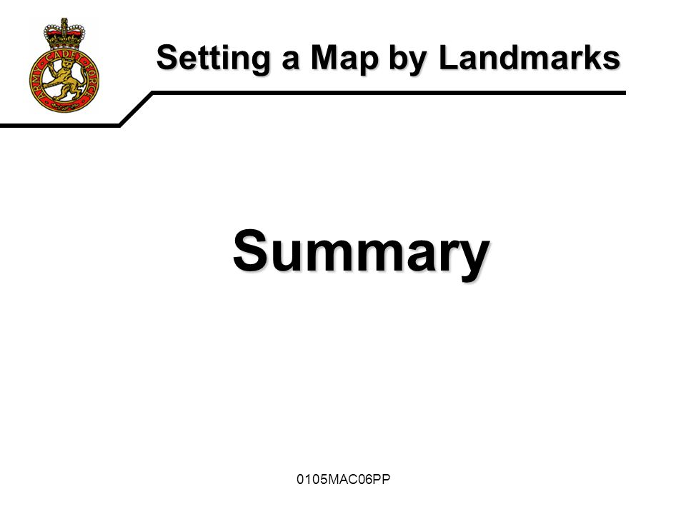 Setting a Map by Landmarks