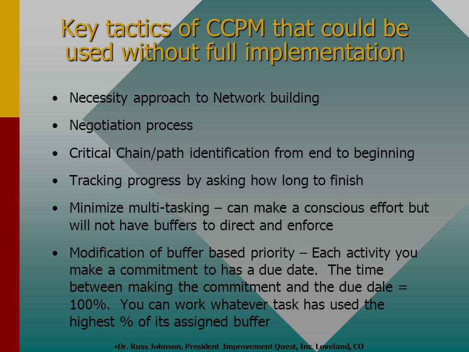 Key tactics of CCPM that could be used without full implementation