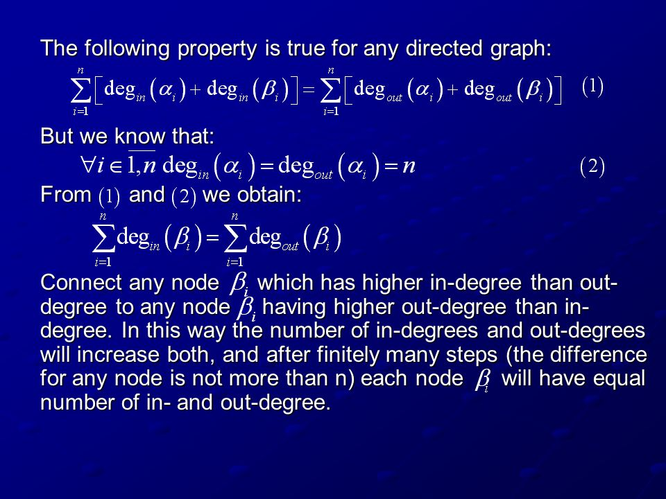 The following property is true for any directed graph:
