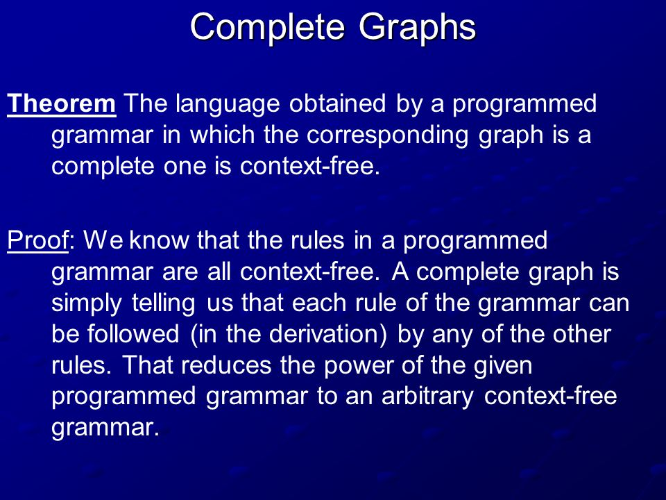 Complete Graphs Theorem The language obtained by a programmed grammar in which the corresponding graph is a complete one is context-free.