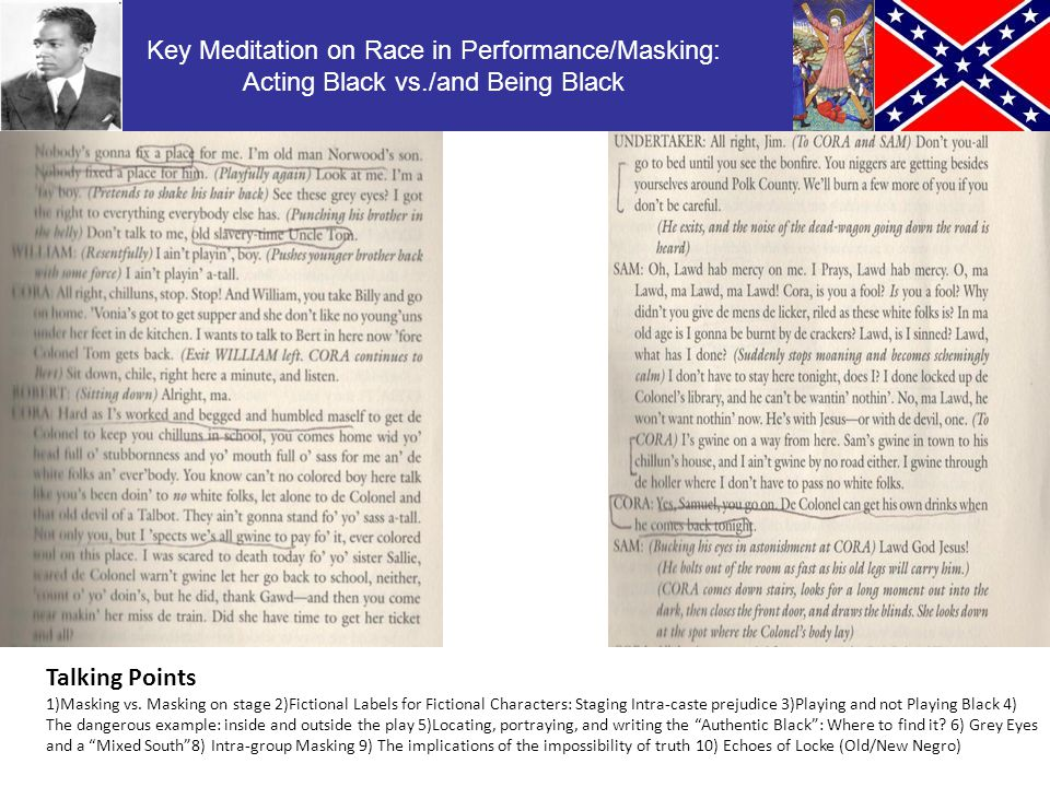 Key Meditation on Race in Performance/Masking: Acting Black vs