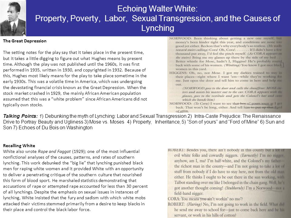Echoing Walter White: Property, Poverty, Labor, Sexual Transgression, and the Causes of Lynching