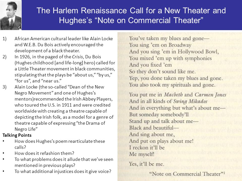 The Harlem Renaissance Call for a New Theater and Hughes's Note on Commercial Theater