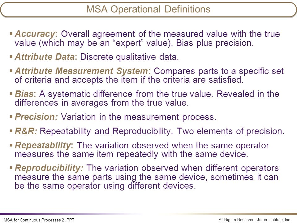 MSA Operational Definitions