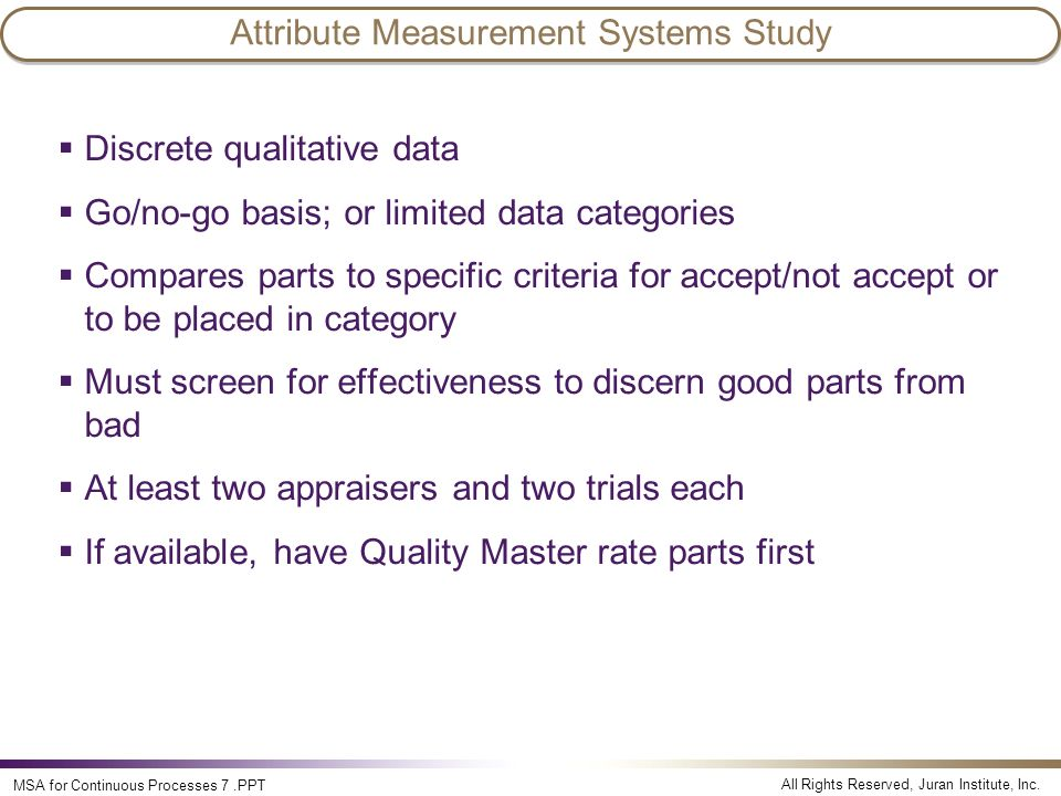 Attribute Measurement Systems Study