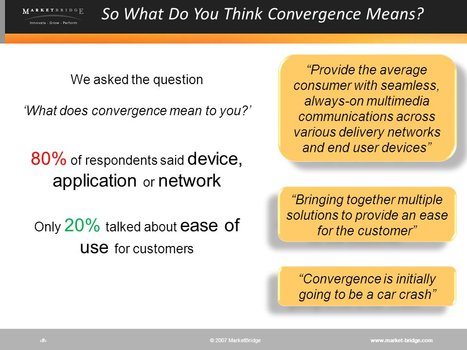So What Do You Think Convergence Means