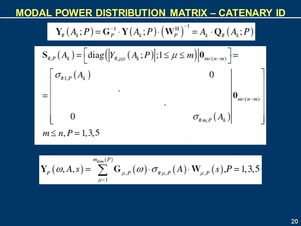 Modal power distribution matrix – catenary id