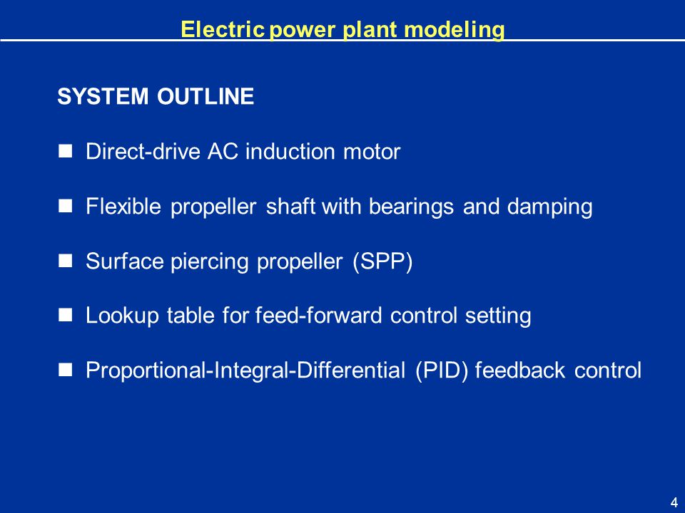 Electric power plant modeling