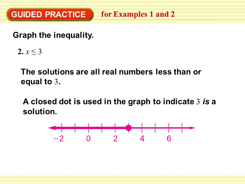 GUIDED PRACTICEfor Examples 1 and 2. Graph the inequality. 2. x ≤ 3. The solutions are all real numbers less than or equal to 3.