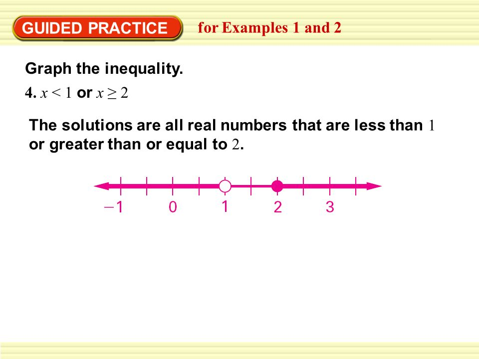 GUIDED PRACTICEfor Examples 1 and 2. Graph the inequality. 4. x < 1 or x ≥ 2.